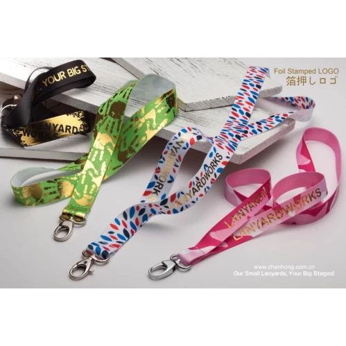 New products Foil Stamped Logo custom design logo lanyards