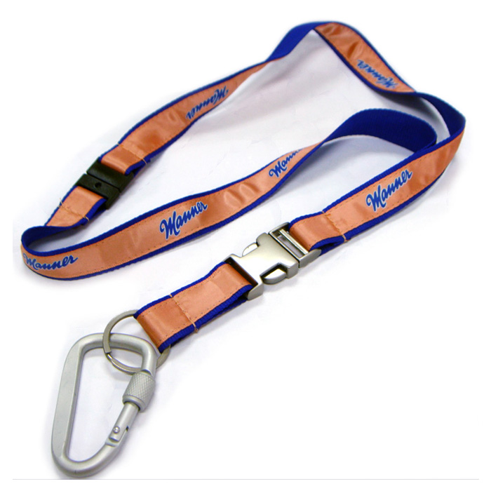 New style silk screen imprinted logo metal buckle satin custom neck straps