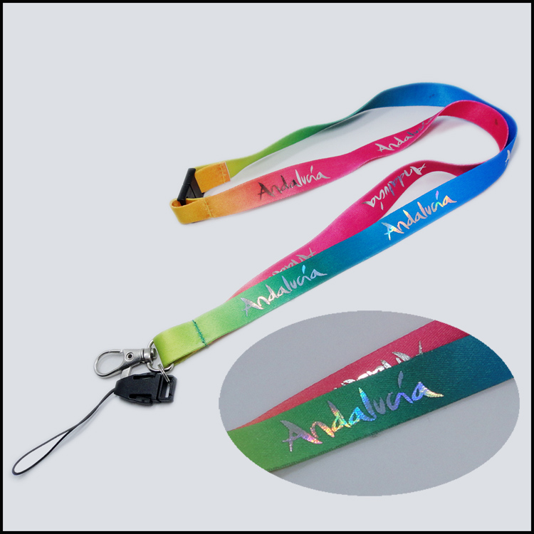 Gold foil dye sublimation polyester design lanyards
