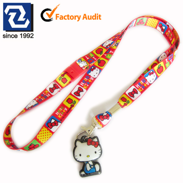 Sublimation polyester custom strap keychains with mobile phone cleaner