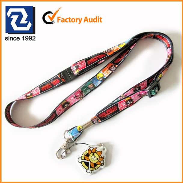 Cartoon sublimation logo polyester neck lanyard with mobile phone cleaner