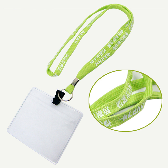 Green color polyester tubular neck lanyard with PVC card holder