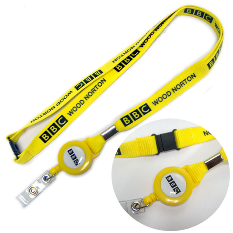 Safety breakaway polyester fabric lanyards with retractable reel