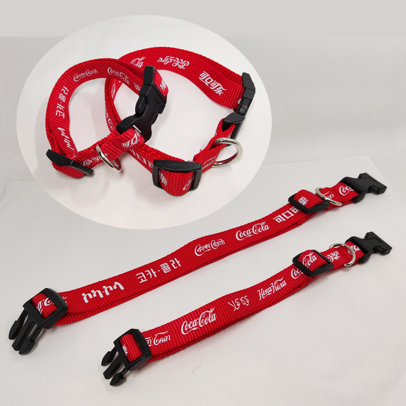 Red Nylon pet collars with custom design logo for adverting gift