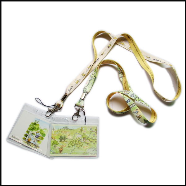 Transparent plastic PVC ID card holder bear logo lanyards