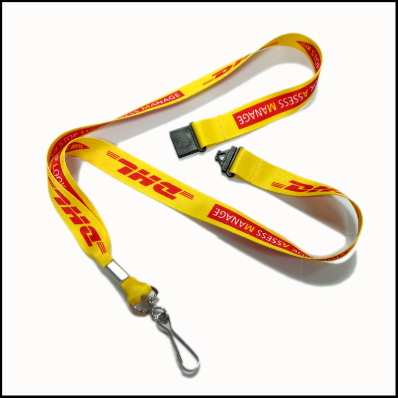 Yellow supplier sublimation neck lanyard with campany brand logo